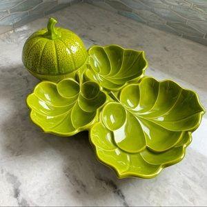 Vintage Melon Vine Leaf Serving Platter & Bowl